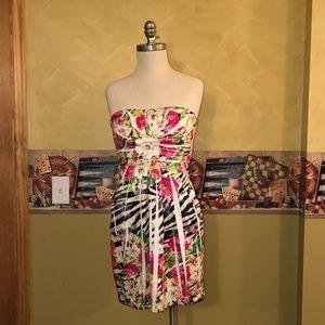 Strapless zebra print dress with pockets